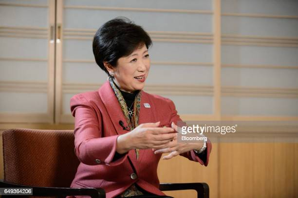 Yuriko Koike governor of Tokyo speaks during a Bloomberg Television interview in Tokyo Japan on Monday March 6 2017 Koike Tokyos firstever female...