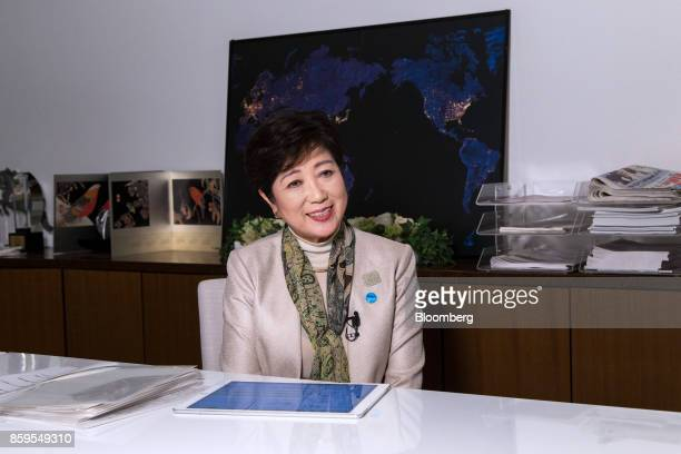 Yuriko Koike governor of Tokyo speaks during an interview in Tokyo Japan on Monday Oct 9 2017 Koike leader of Japans nascent opposition Party of Hope...