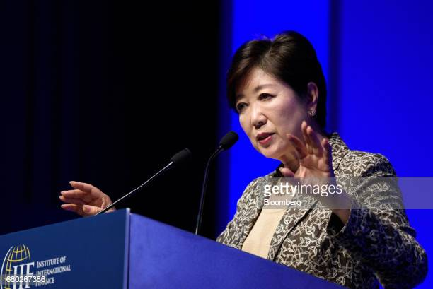 Yuriko Koike governor of Tokyo speaks during the Institute of International Finance Spring Membership Meeting in Tokyo Japan on Monday May 8 2017...