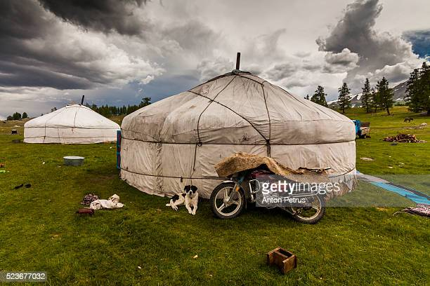 Yurt and bike in the Mongolian steppe