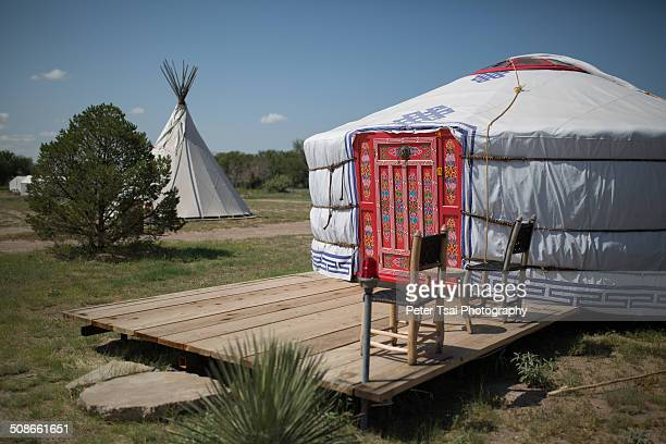 Yurt and teepees at El Cosmico in Marfa TX in 2014