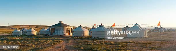 Yurt village panorama China Inner Mongolia grasslands