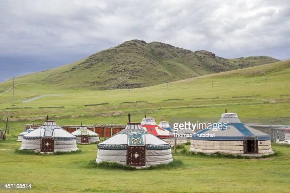 Yurts at the Chinggis Khaan Khuree Ger camp close to Ulan Bator on July 06 in Ulan Bator Mongolia Chinggis Khaan Khuree Ger camp is a tourist camp...