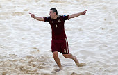 Yury Krasheninnikov of Russia celebrates during the Men's Beach Soccer Group B match between Russia and Italy on day thirteen of the Baku 2015...