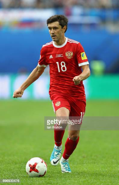 Yury Zhirkov in action during the FIFA Confederations Cup Russia 2017 Group A match between Russia and New Zealand at Saint Petersburg Stadium on...