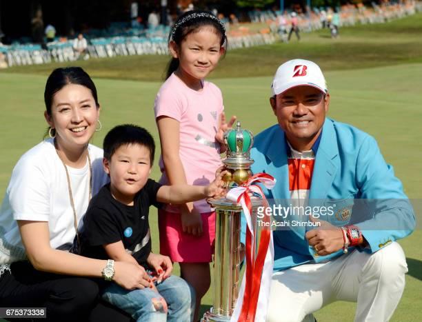 Yusaku Miyazato celebrates winning the Chunichi Crowns with his family at Nagoya Golf Club Wago Course on April 30 2017 in Togo Aichi Japan
