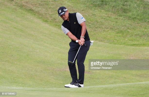 Yusaku Miyazato of Japan chips onto the 3rd green during a practice round prior to the 146th Open Championship at Royal Birkdale on July 19 2017 in...
