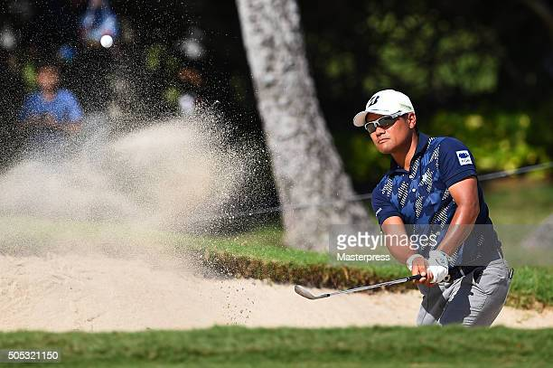 Yusaku Miyazato of Japan chips onto the green during the third round of the Sony Open In Hawaii at Waialae Country Club on January 16 2016 in...