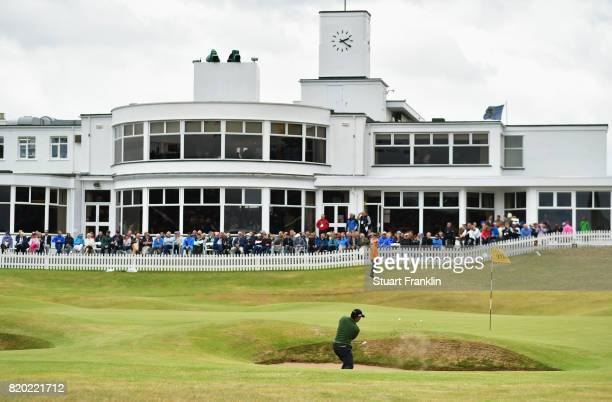 Yusaku Miyazato of Japan hits a bunker shot on the 18th hole during the second round of the 146th Open Championship at Royal Birkdale on July 21 2017...