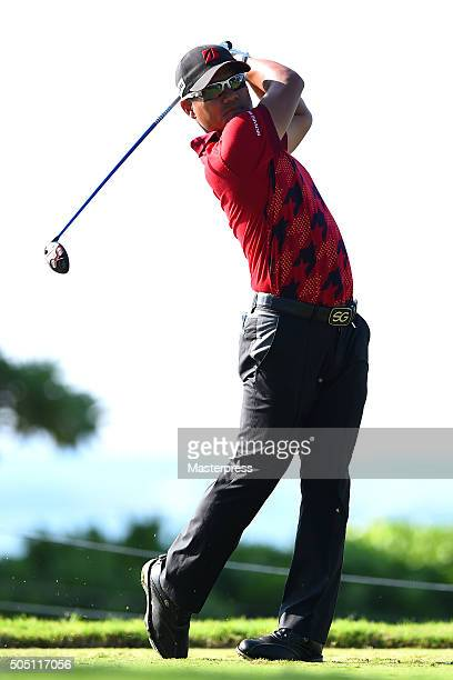 Yusaku Miyazato of Japan hits his tee shot on the 14th hole during the first round of the Sony Open In Hawaii at Waialae Country Club on January 14...