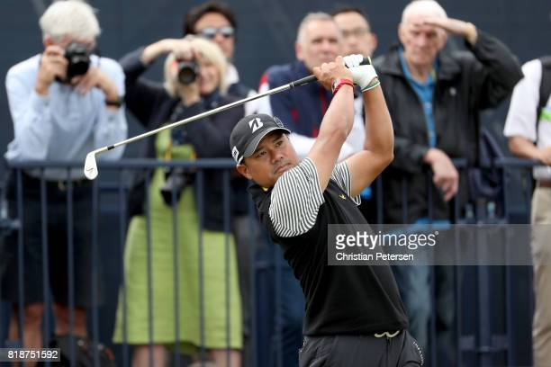 Yusaku Miyazato of Japan hits his tee shot on the 4th hole during a practice round prior to the 146th Open Championship at Royal Birkdale on July 19...