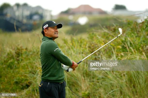 Yusaku Miyazato of Japan hits his tee shot on the 7th hole during the second round of the 146th Open Championship at Royal Birkdale on July 21 2017...