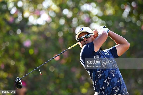 Yusaku Miyazato of Japan hits his tee shot on the 9th hole during the third round of the Sony Open In Hawaii at Waialae Country Club on January 16...