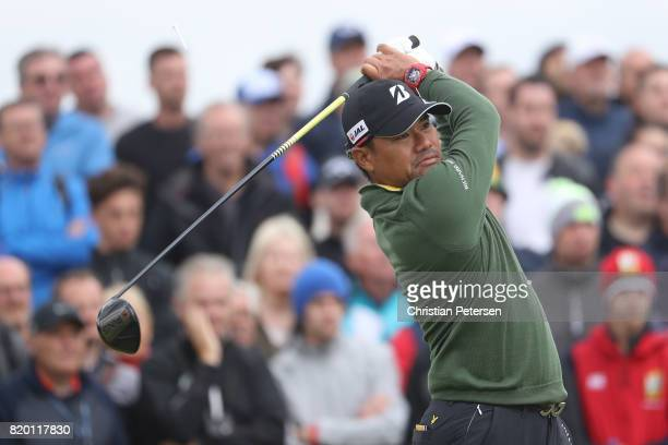 Yusaku Miyazato of Japan hits his tee shot on the 9th hole during the second round of the 146th Open Championship at Royal Birkdale on July 21 2017...