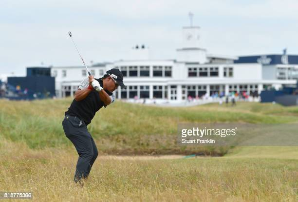 Yusaku Miyazato of Japan on the 18th hole during a practice round prior to the 146th Open Championship at Royal Birkdale on July 19 2017 in Southport...