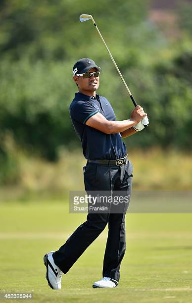 Yusaku Miyazato of Japan plays a shot on the eighth hole during the second round of The 143rd Open Championship at Royal Liverpool on July 18 2014 in...