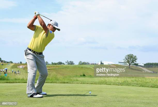 Yusaku Miyazato of Japan plays his shot during a practice round prior to the 2017 US Open at Erin Hills on June 13 2017 in Hartford Wisconsin