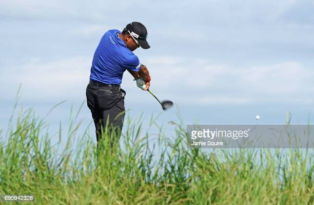 Yusaku Miyazato of Japan plays his shot during a practice round prior to the 2017 US Open at Erin Hills on June 14 2017 in Hartford Wisconsin