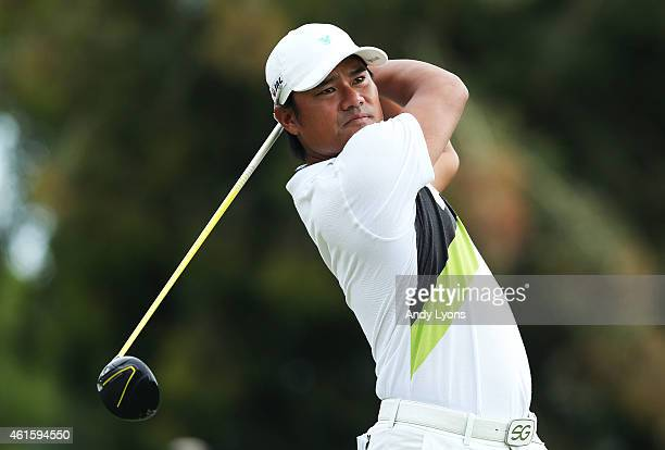 Yusaku Miyazato of Japan plays his shot from the 15th tee during the first round of the Sony Open In Hawaii at Waialae Country Club on January 15...
