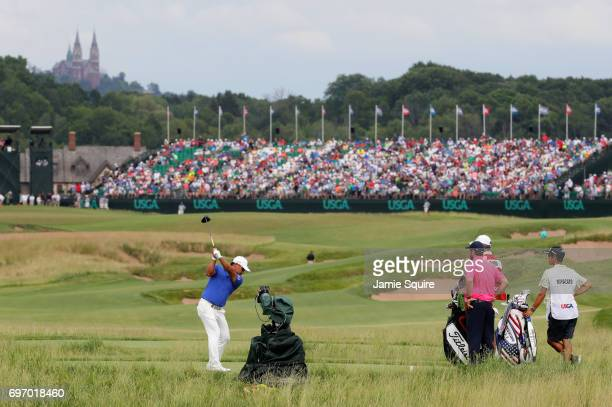Yusaku Miyazato of Japan plays his shot from the 18th tee during the third round of the 2017 US Open at Erin Hills on June 17 2017 in Hartford...
