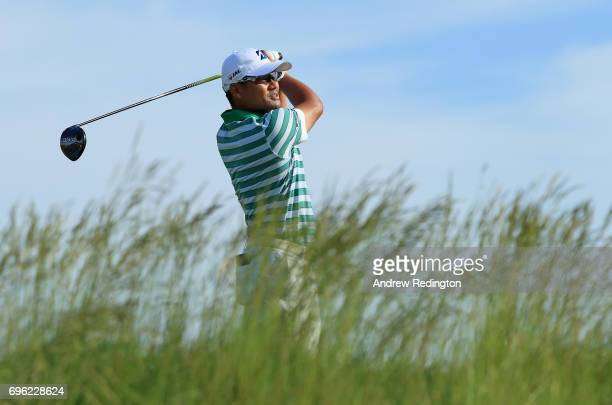 Yusaku Miyazato of Japan plays his shot from the fifth tee during the first round of the 2017 US Open at Erin Hills on June 15 2017 in Hartford...