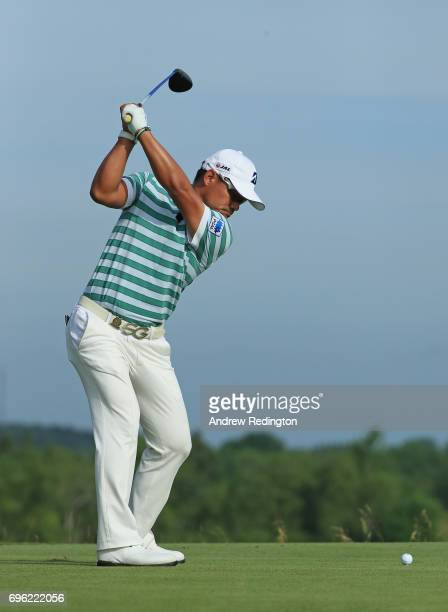 Yusaku Miyazato of Japan plays his shot from the fourth tee during the first round of the 2017 US Open at Erin Hills on June 15 2017 in Hartford...