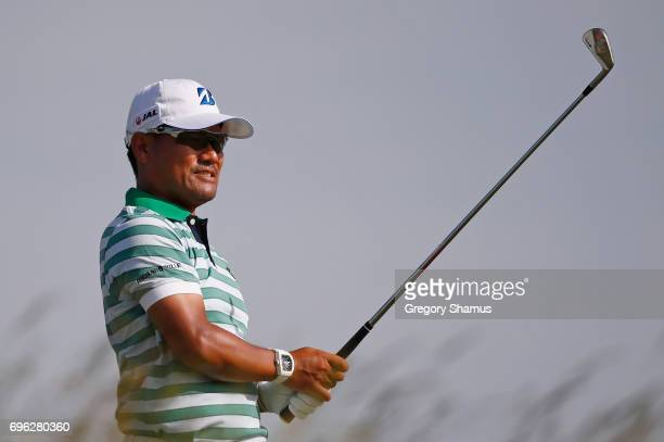 Yusaku Miyazato of Japan plays his shot from the sixth tee during the first round of the 2017 US Open at Erin Hills on June 15 2017 in Hartford...