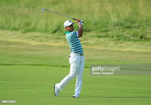Yusaku Miyazato of Japan plays his shot on the fourth hole during the first round of the 2017 US Open at Erin Hills on June 15 2017 in Hartford...