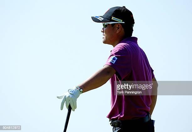Yusaku Miyazato of Japan reacts during the Sony Open In Hawaii ProAm tournament at Waialae Country Club on January 13 2016 in Honolulu Hawaii