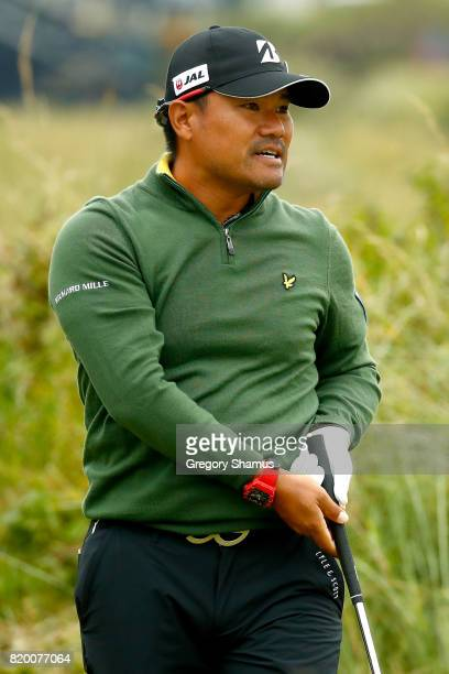 Yusaku Miyazato of Japan reacts to his tee shot on the 7th hole during the second round of the 146th Open Championship at Royal Birkdale on July 21...
