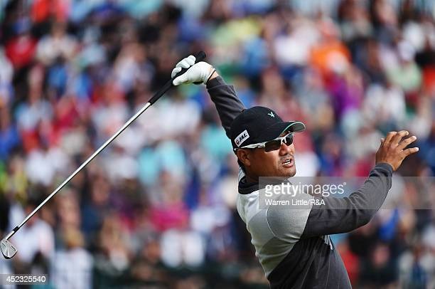 Yusaku Miyazato of Japan reacts to his tee shot on the fourth hole during the second round of The 143rd Open Championship at Royal Liverpool on July...