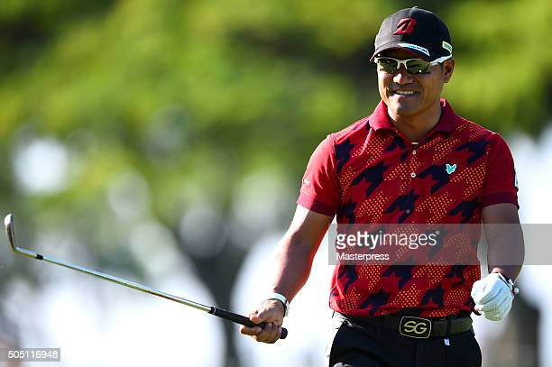 Yusaku Miyazato of Japan smiles during the first round of the Sony Open In Hawaii at Waialae Country Club on January 14 2016 in Honolulu Hawaii