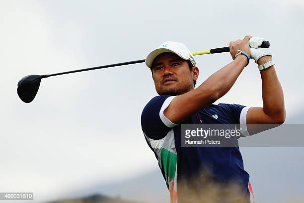 Yusaku Miyazato of Japan tees off during day two of the New Zealand Open at The Hills Golf Club on March 13 2015 in Queenstown New Zealand