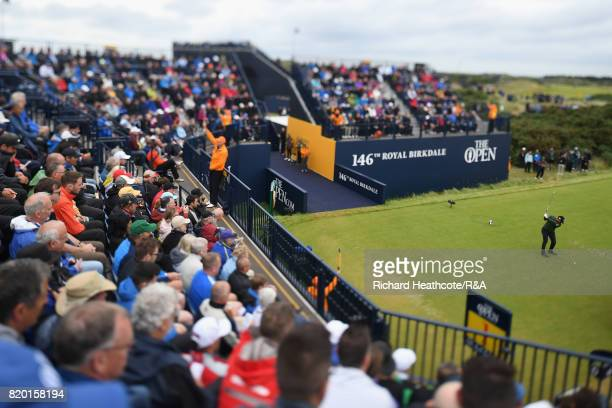 Yusaku Miyazato of Japan tees off on the 1st hole during the second round of the 146th Open Championship at Royal Birkdale on July 21 2017 in...