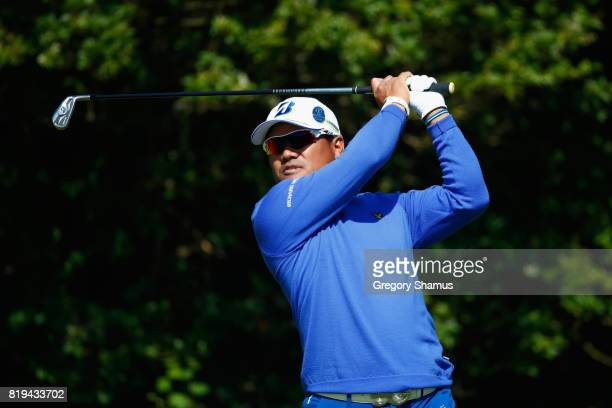 Yusaku Miyazato of Japan tees off on the 5th hole during the first round of the 146th Open Championship at Royal Birkdale on July 20 2017 in...