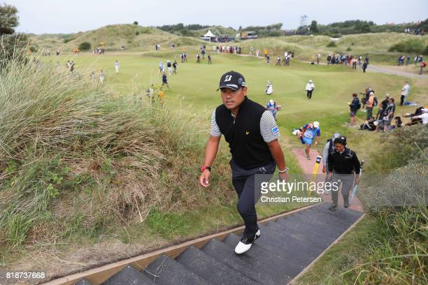 Yusaku Miyazato of Japan walks off the 3rd green during a practice round prior to the 146th Open Championship at Royal Birkdale on July 19 2017 in...