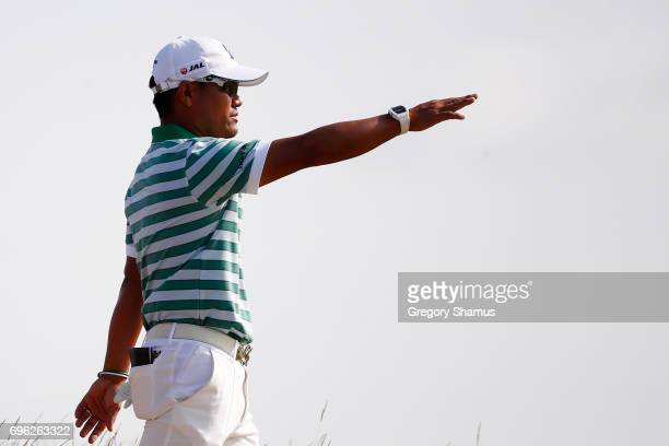 Yusaku Miyazato of Japan walks off the sixth hole during the first round of the 2017 US Open at Erin Hills on June 15 2017 in Hartford Wisconsin