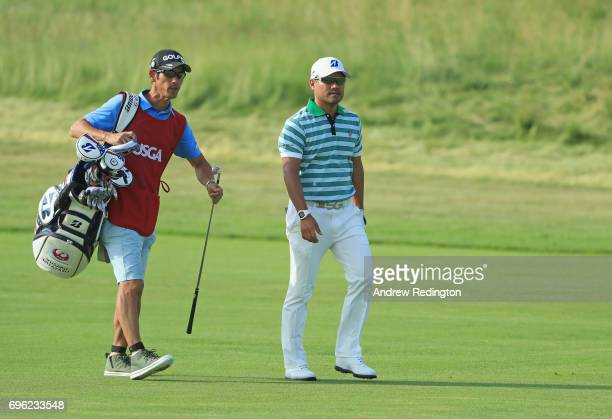 Yusaku Miyazato of Japan walks to the fourth green during the first round of the 2017 US Open at Erin Hills on June 15 2017 in Hartford Wisconsin