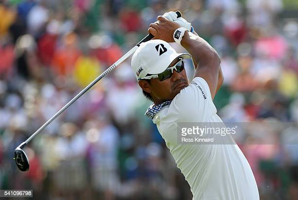 Yusaku Miyazato of Japan watches his tee shot on the 12th hole during the third round of the US Open at Oakmont Country Club on June 18 2016 in...