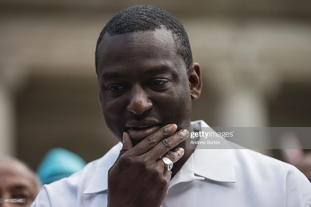 <a gi-track='captionPersonalityLinkClicked' href=/galleries/search?phrase=Yusef+Salaam&family=editorial&specificpeople=6487534 ng-click='$event.stopPropagation()'>Yusef Salaam</a>, one of the five men wrongfully convicted of raping a woman in Central Park in 1989, speaks at a press conference on city halls' steps after it was announced that the men, known as the 'Central Park Five,' had settled with New York City for approximately $40 million dollars on June 27, 2014 in New York City. All five men spent time in jail, until their convictions were overturned in 2002 after being proven innocent.
