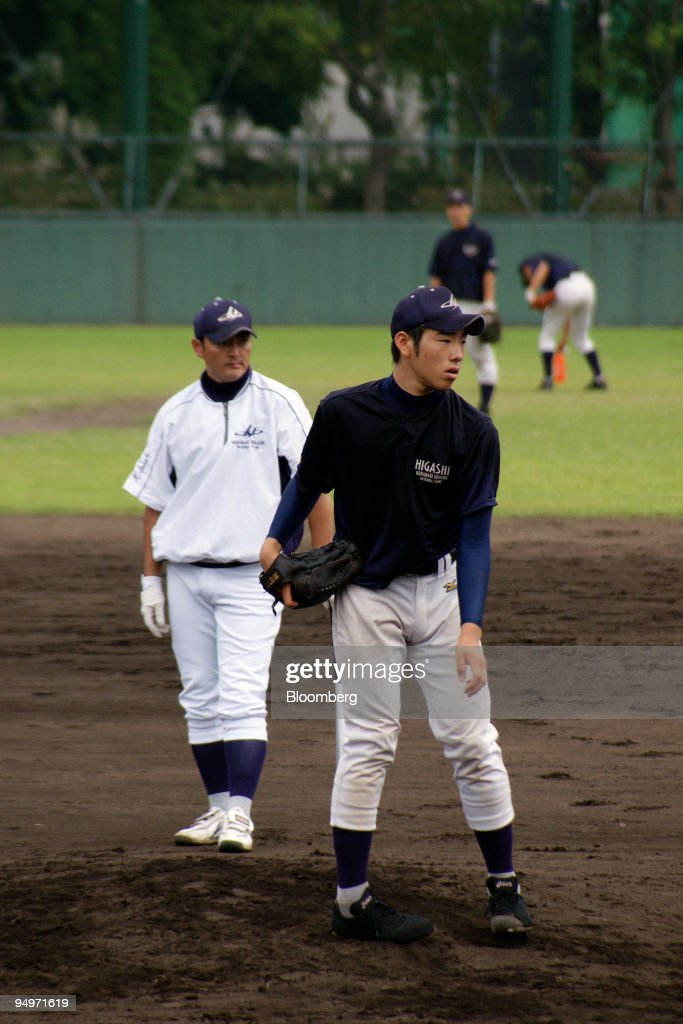 Yusei Kikuchi an 18 yearold lefthanded pitcher at Hanamaki Higashi High School in Iwate prefecture plays during a practice session for the Koshien...
