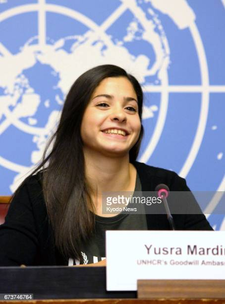 Yusra Mardini a 19yearold Syrian refugee and an Olympic swimmer speaks at a news conference in Geneva on April 27 2017 after being appointed as a...