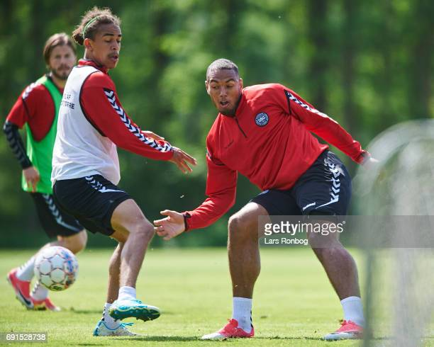 Yussuf Poulsen and Kenneth Zohore in action during the Denmark training session at Brondby Stadion on June 2 2017 in Brondby Denmark
