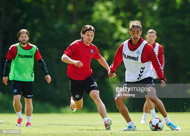 Yussuf Poulsen and Lasse Vibe in action during the Denmark training session at Brondby Stadion on June 2 2017 in Brondby Denmark