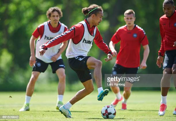 Yussuf Poulsen in action during the Denmark training session at Brondby Stadion on June 2 2017 in Brondby Denmark