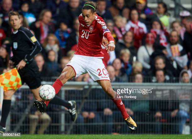 Yussuf Poulsen of Denmark in action during the FIFA World Cup 2018 qualifier match between Denmark and Romania at Telia Parken Stadium on October 8...