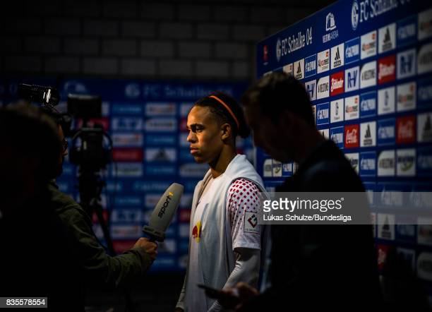 Yussuf Poulsen of Leipzig during an interview in the mixed zone after loosing the Bundesliga match between FC Schalke 04 and RB Leipzig at...