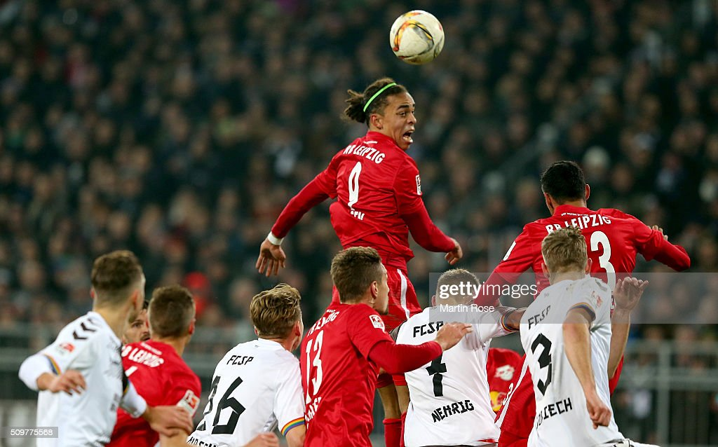 <a gi-track='captionPersonalityLinkClicked' href=/galleries/search?phrase=Yussuf+Poulsen&family=editorial&specificpeople=7753748 ng-click='$event.stopPropagation()'>Yussuf Poulsen</a> of Leipzig heads for the ball during the second Bundesliga match between FC St. Pauli and RB Leipzig at Millerntor Stadium on February 12, 2016 in Hamburg, Germany.
