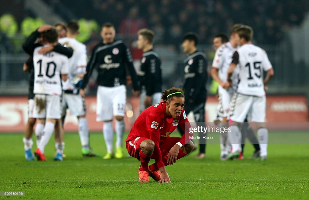 <a gi-track='captionPersonalityLinkClicked' href=/galleries/search?phrase=Yussuf+Poulsen&family=editorial&specificpeople=7753748 ng-click='$event.stopPropagation()'>Yussuf Poulsen</a> of Leipzig looks dejected after the second Bundesliga match between FC St. Pauli and RB Leipzig at Millerntor Stadium on February 12, 2016 in Hamburg, Germany.