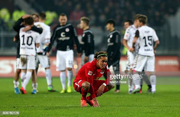 Yussuf Poulsen of Leipzig looks dejected after the second Bundesliga match between FC St Pauli and RB Leipzig at Millerntor Stadium on February 12...